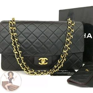 CHANEL Classic Medium Gold Chain Flap Bag+ Wallet